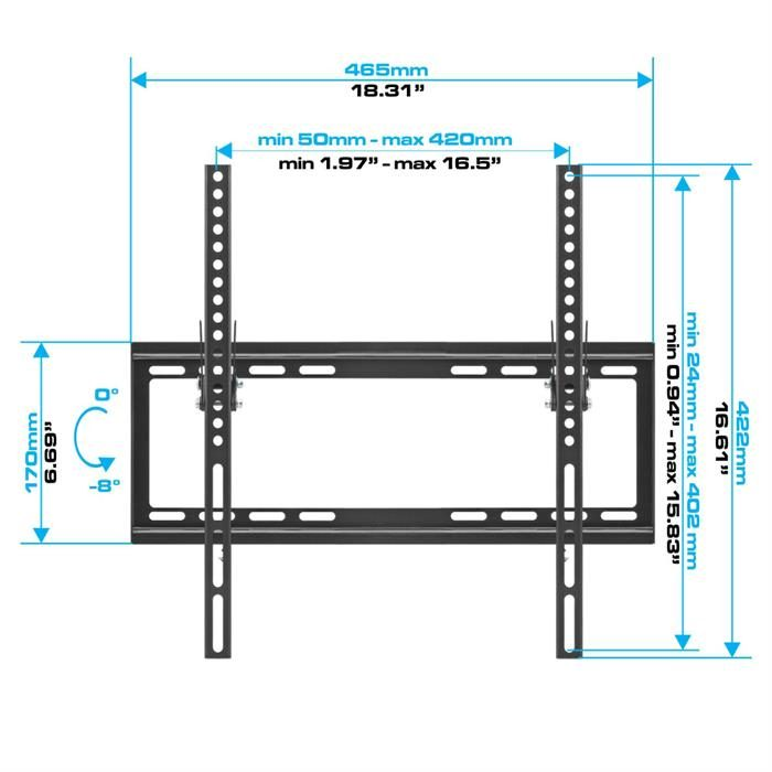 "Dimensions - Low Profile Tilting TV Wall Mount For 32-55"" Flat Panel TVs"