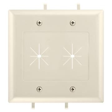 DataComm 45-0015-LA Two-Gang Low-Voltage Cable Plate With Flexible Opening - Lite Almond