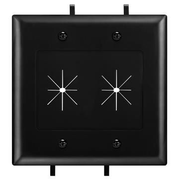 DataComm 45-0015-BK Two-Gang Low-Voltage Cable Plate With Flexible Opening - Black