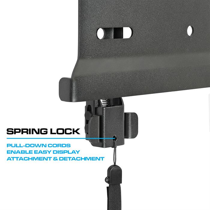 Spring Lock - Pull down cords, enable easy display attachment & detachment