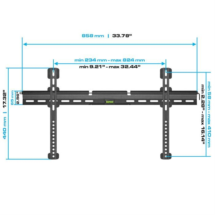 "Dimensions - Ultra Slim Fixed TV Wall Mount For 37""-70"" TV"