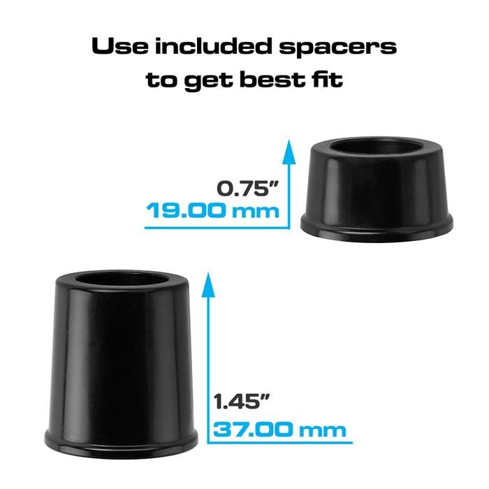 Use included spacers to get best fit