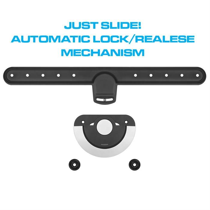 Just slide automatic lock/release mechanism