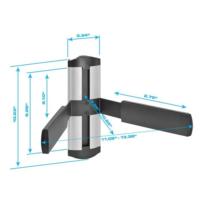Dimensions - Universal Adjustable DVD/STB Wall Mount