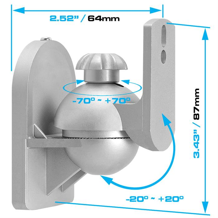Dimensions - Speaker Wall Mount For Satellite Speakers