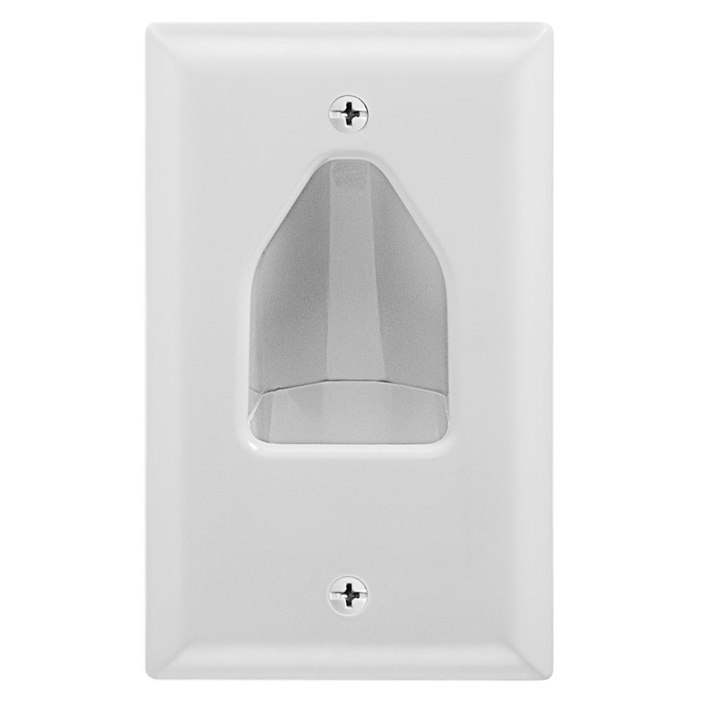 1-Gang Recessed Low Voltage Cable Wall Plate White