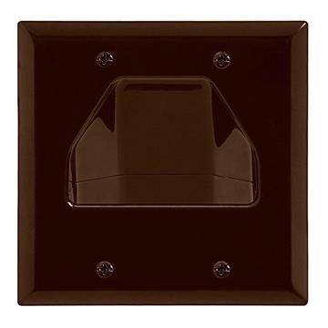 DataComm 45-0002-BR Two-Gang Low-Voltage Cable Wall Plate For Multiple Cables - Brown