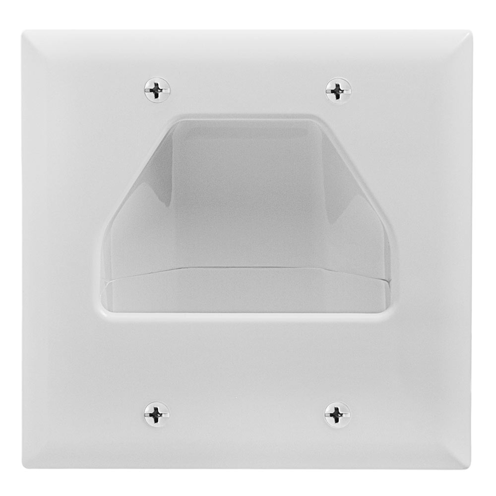 Two-Gang Low-Voltage Cable Wall Plate For Multiple Cables - White