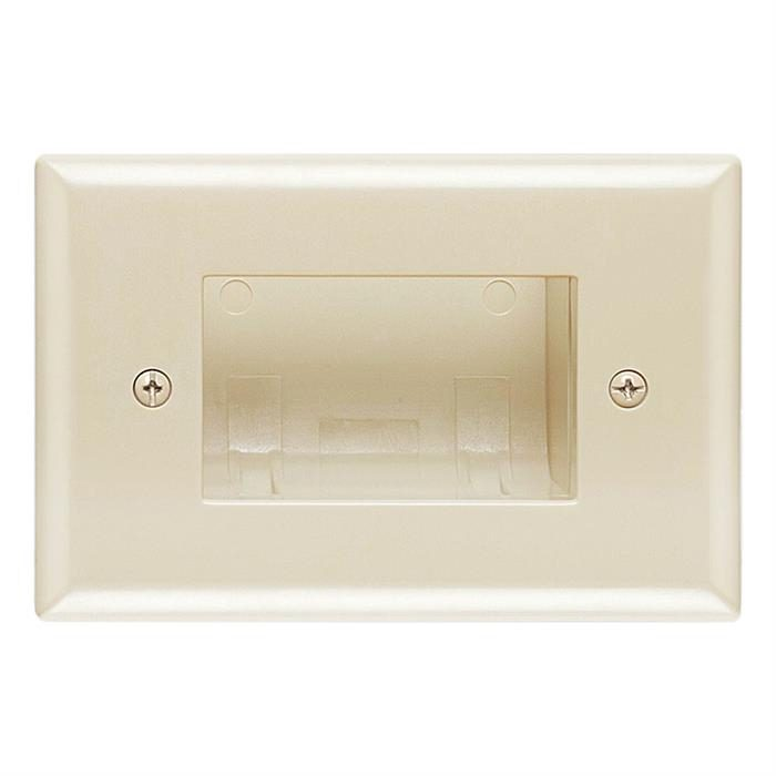 DataComm 45-0008-LA Recessed Easy Mount Low-Voltage Cable Wall Plate - Almond