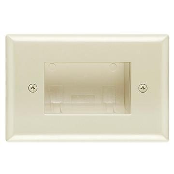 DataComm 45-0009-LA Recessed Easy Mount Low-Voltage Cable Wall Plate - Slim Fit, Almond