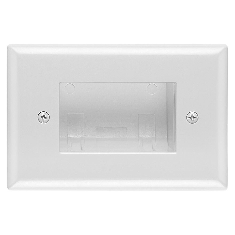 Recessed Easy Mount Low-Voltage Cable Wall Plate - Slim Fit, White