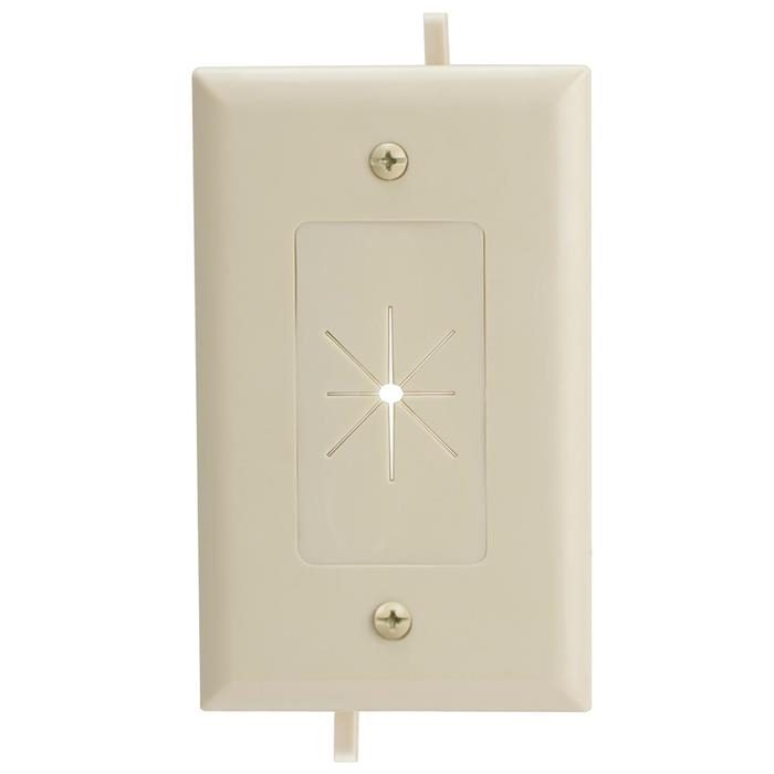DataComm 45-0014-IV One-Gang Low-Voltage Cable Plate With Flexible Opening - Ivory