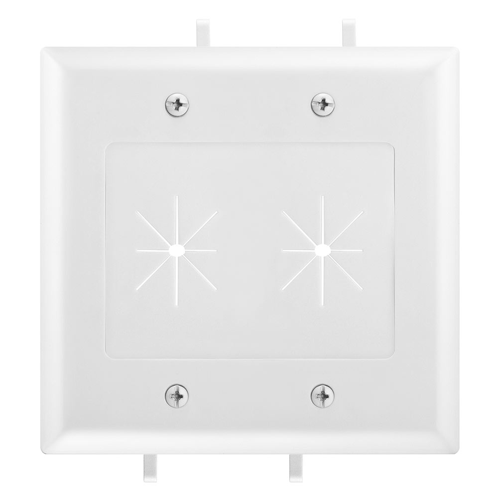 Two Gang Low Voltage Cable Plate With Flexible Opening White Wiring Supplies Datacomm 45 0015 Wh