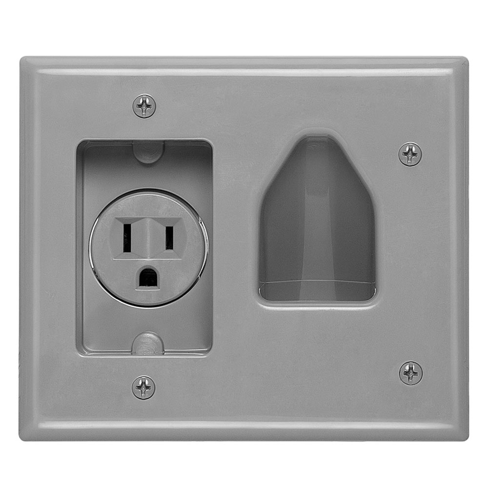Recessed Low Voltage Cable Wall Plate With Ac Power Gray Wiring Datacomm 45 0021 Gy