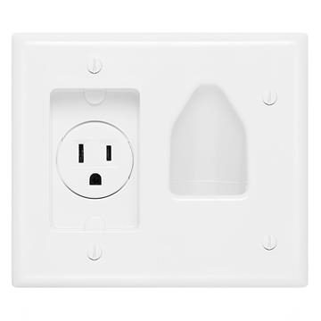 DataComm 45-0021-WH Recessed Low-Voltage Cable Wall Plate With Recessed AC Power - White