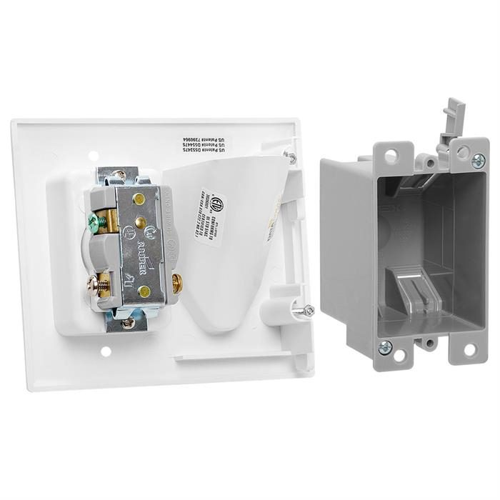 DataComm 45-0023-WH Recessed Pro Power Kit with Straight Blade Inlet - White