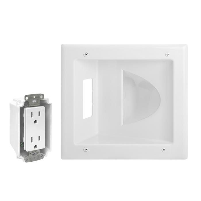 DataComm 45-0031-WH Recessed Media Plate with Duplex Receptacle - White
