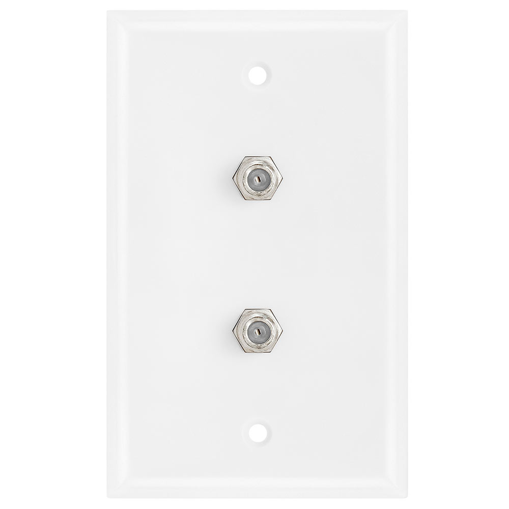 Dual Coaxial F-Connector Wall Plates for Cable TV, Satellite