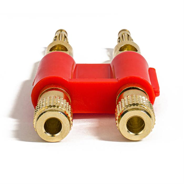 Dual Speaker Banana Plugs, 24K Gold Plated, Open Screw Type, Audio Plug for Amplifiers, Speakers - Red