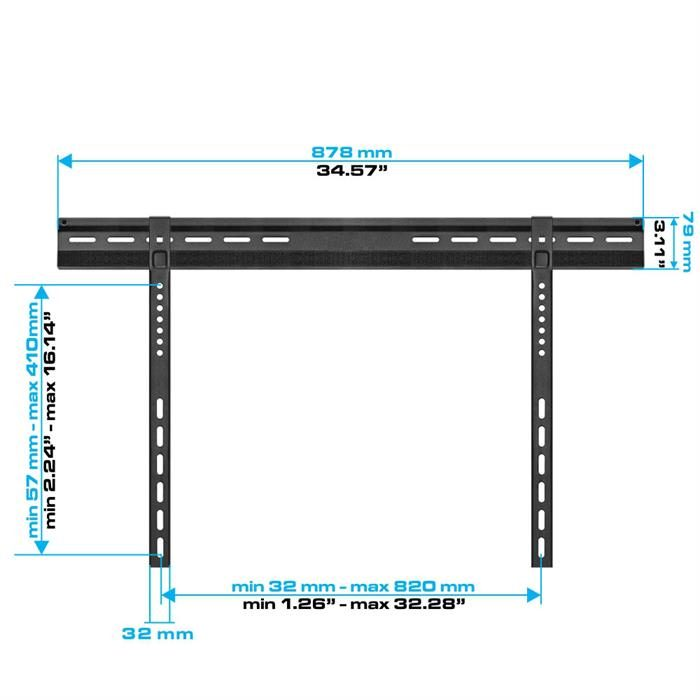"Extremely Slim Velcro-Fixed Wall Mount for 32""-63"" LCD/LED TV's"