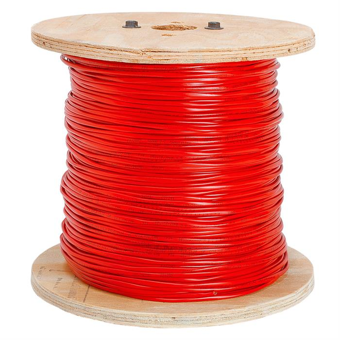 Fire Alarm 14/2 Bare Copper 14AWG 2 Conductor Unshielded Cable - 1000 Feet Red