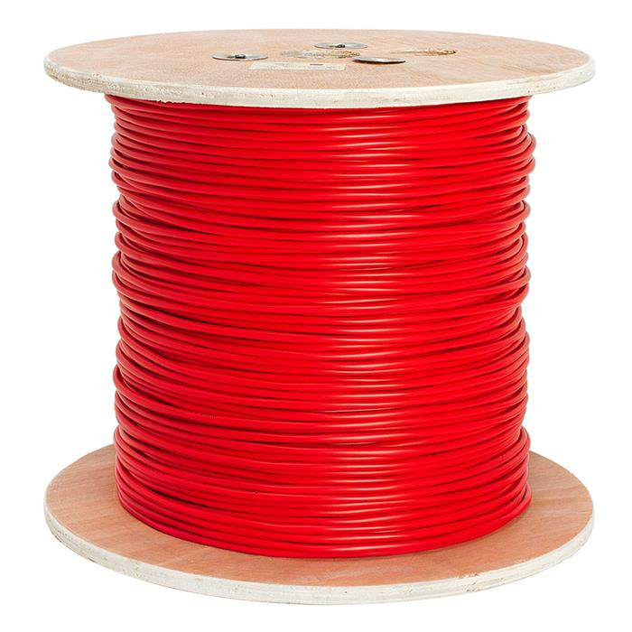 Fire Alarm 16/2 Bare Copper 16AWG 2 Conductor Unshielded Cable - 1000 Feet Red