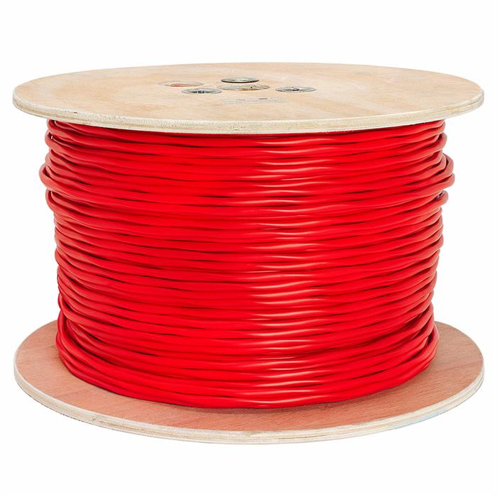 Fire Alarm 18/2 Bare Copper 18AWG 2 Conductor Unshielded Cable - 1000 Feet Red