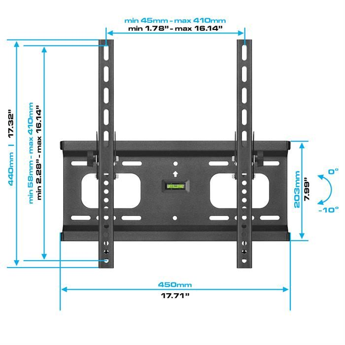 "Dimensions - Heavy-Duty Tilt TV Wall Mount For 32""-55"" TV's"