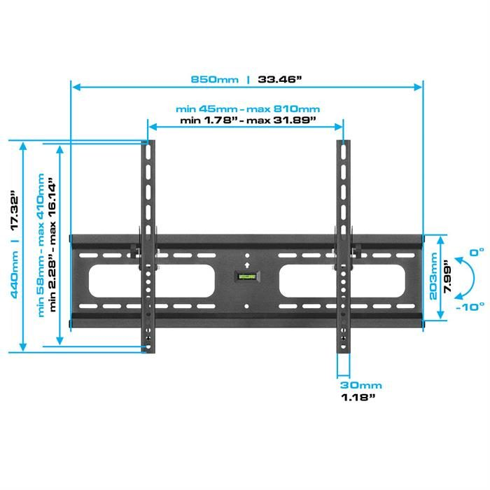 "Dimensions - Heavy-Duty Tilt TV Wall Mount For 37""-70"" TV's"