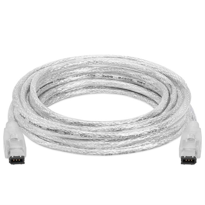 IEEE-1394 FireWire/iLink 6 Pin Male to Male DV Cable - 15 Feet Clear