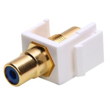 Keystone Jack - Modular RCA White with Blue Center