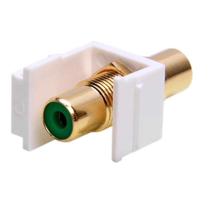 Keystone Jack - Modular RCA White with Green Center
