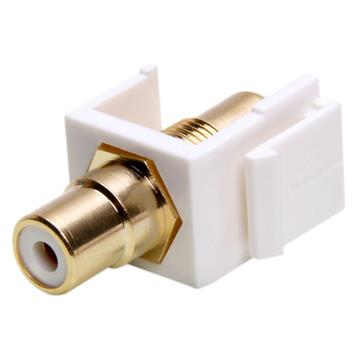 Keystone Jack - Modular RCA White with White Center