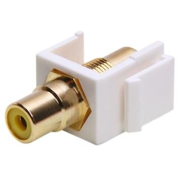 Keystone Jack - Modular RCA White with Yellow Center