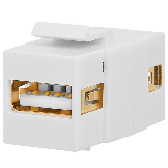 Keystone Jack - USB 2.0 A Female to A Female Coupler Flush Type - White