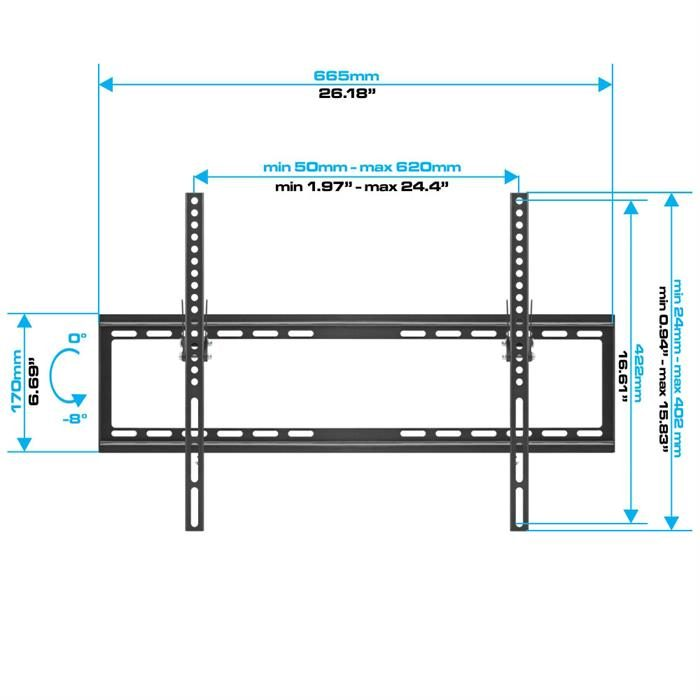 "Dimensions - Tilting TV Wall Mount For 37-70"" Flat Panel TVs"