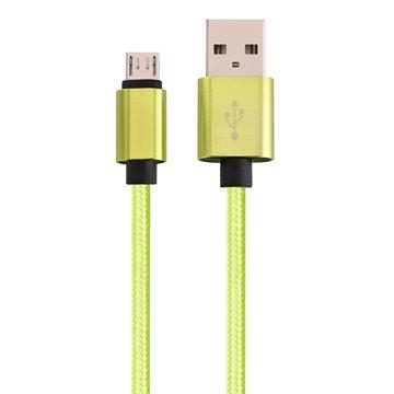 Micro USB to USB Braided Data Charging Cable - 3 Feet, Neon Green