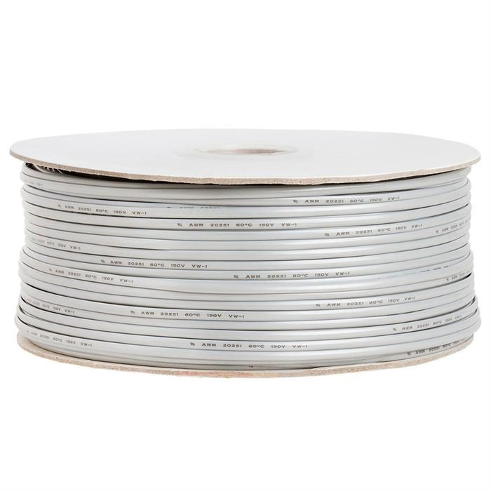 Phone Cable FLAT 4 Wire, Solid, Silver - 1000ft, 28AWG