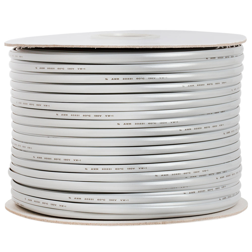 Phone Cable FLAT 6 Wire, Solid, Silver - 1000ft, 26AWG
