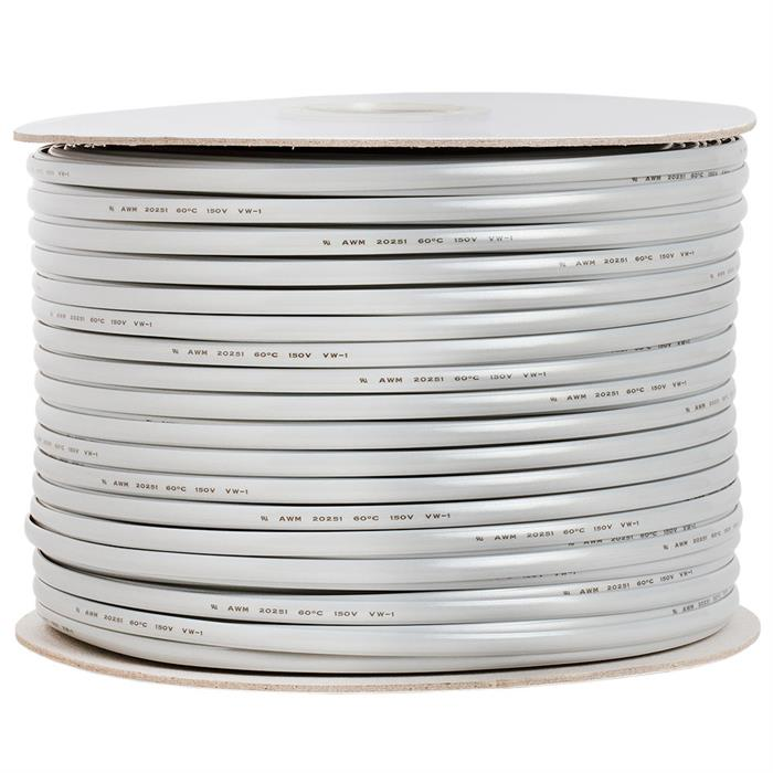 Phone Cable FLAT 6 Wire, Solid, Silver - 1000ft,  28AWG