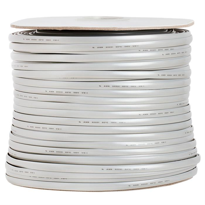 Phone Cable FLAT 8 Wire, Solid, Silver - 1000ft, 28AWG