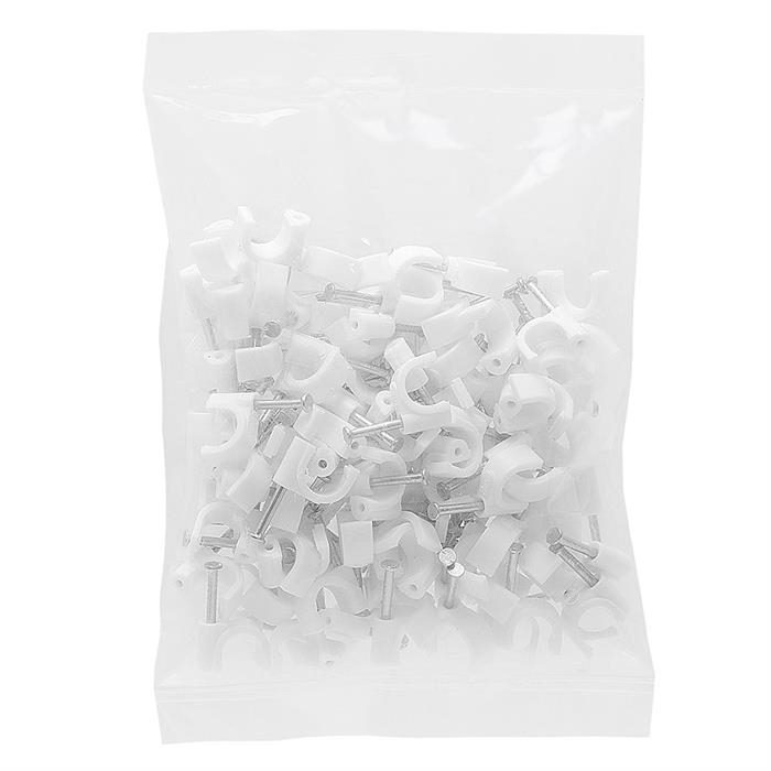 Plastic Staples Cable Clips for RG6 8mm White 100 PCs/Bag
