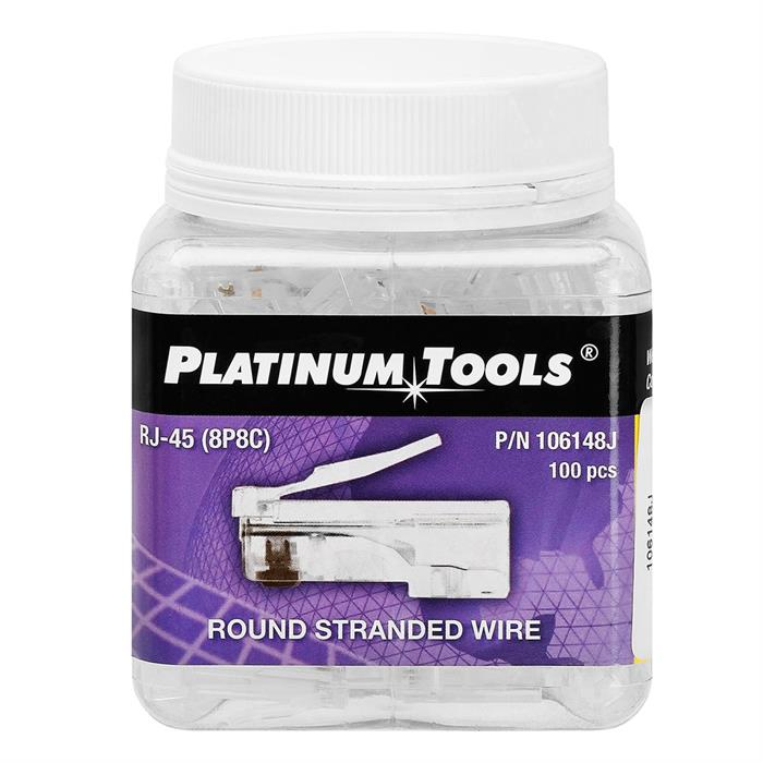 Platinum Tools 106148J RJ-45 (8P8C) Round Cable Stranded Wire - Jar of 100
