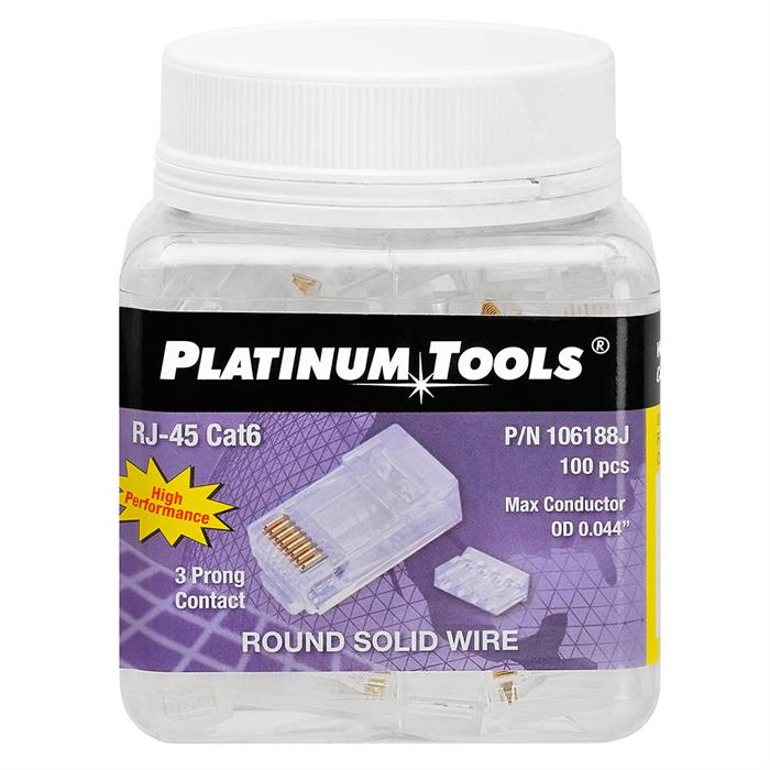Platinum Tools 106188J RJ45 Cat6 2pc, R/S 3 prong - Jar of 100