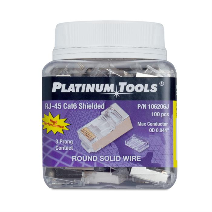 Platinum Tools 106206J RJ45 Shielded Cat6 2 pc. Round-Solid 3-Prong with Liner Connector - Jar of 100