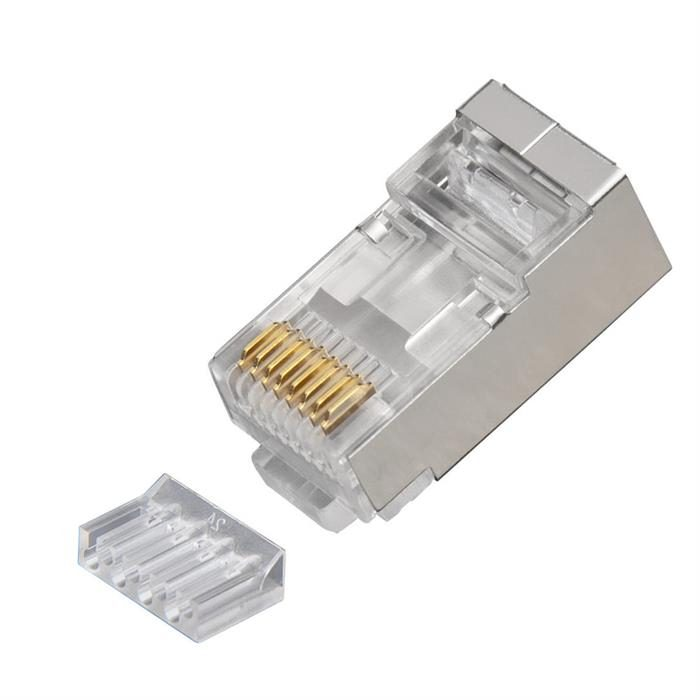 Platinum Tools 106208C RJ45 Shielded Cat6 2 pc. Round-Solid 3-Prong with Liner Connector, 10 Pc. Clamshell