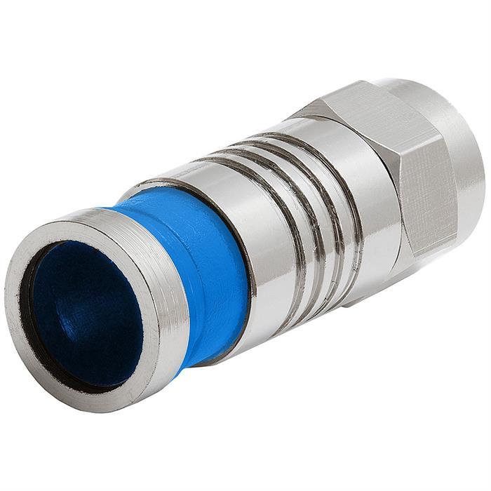 Platinum Tools 28001J F Type for RG6 Quad Compression Connector Nickel- 75pc Jar Blue
