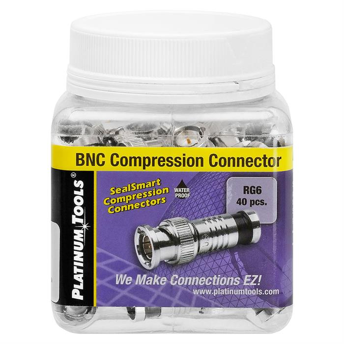 Platinum Tools 28038J BNC-Type RG6 Connector, Nickel - Jar of 40 Black