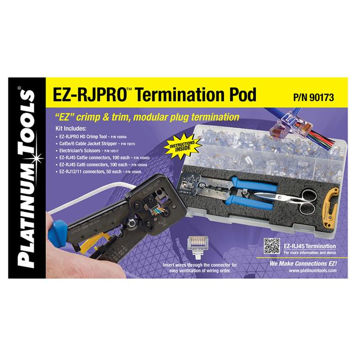 Platinum Tools 90173 EZ-RJPRO Termination Pod with Plastic Carrying Case