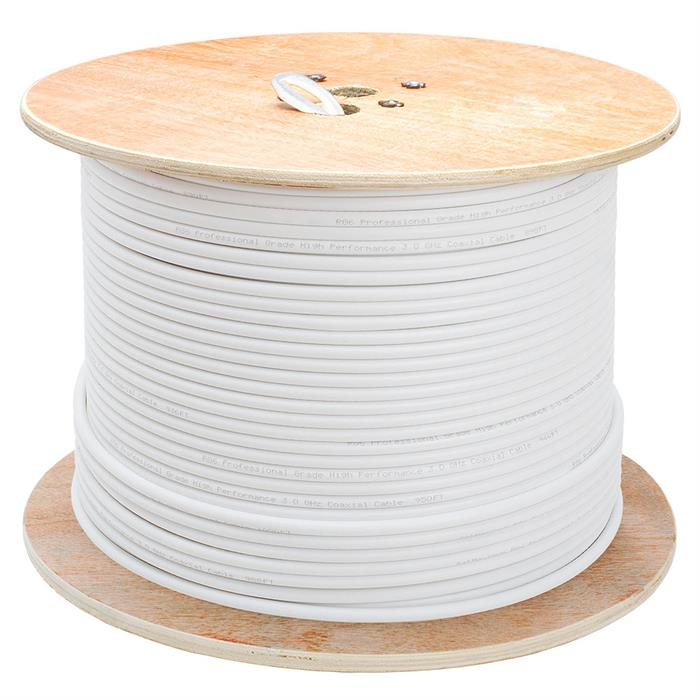 RG6 Quad Shield Wooden Spool - 1000 Feet White
